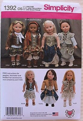 """18"""" GIRL DOLL CLOTHES Simplicity Sewing Pattern 1392 American Made NEW Uncut"""