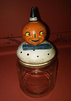 Old Halloween Candy (Old Fashioned Pumpkin Candy Dish Container Halloween Reproduction)