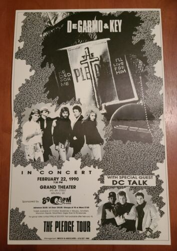 DEGARMO & KEY D&K - IN CONCERT POSTER - CHRISTIAN ROCK MUSIC W/ DC TALK 1990