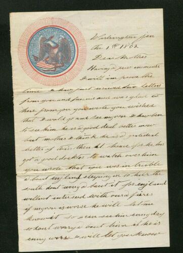 1862 SOLDIERS LETTER PATRIOTIC LETTERHEAD THOMAS N HERBERT ARMY OF POTOMAC