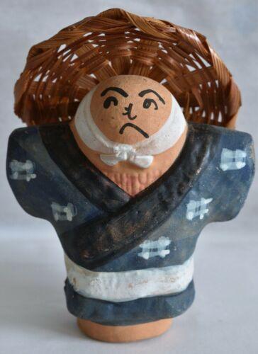 Japanese Old Clay Bell Dorei 1985 : design Kakashi (Scarecrow)