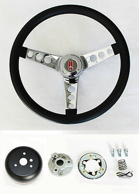 1964-1966 Oldsmobile F85 442 Cutlass 98 Black Steering Wheel 13 1/2