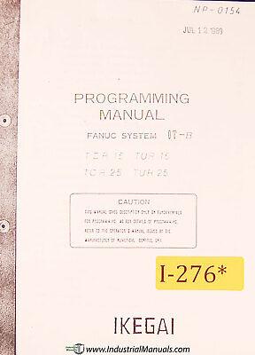 Ikegai Tcr25y Nc Lathe Programming Fanuc Ot-b Manual