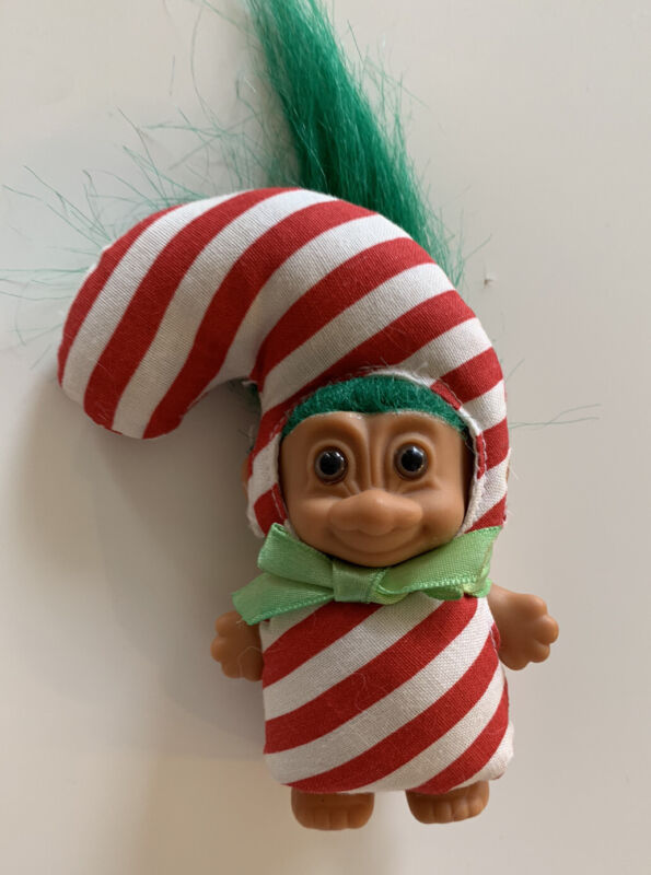 Vintage Troll Christmas Candy Cane Doll Green Hair Rare! 5""
