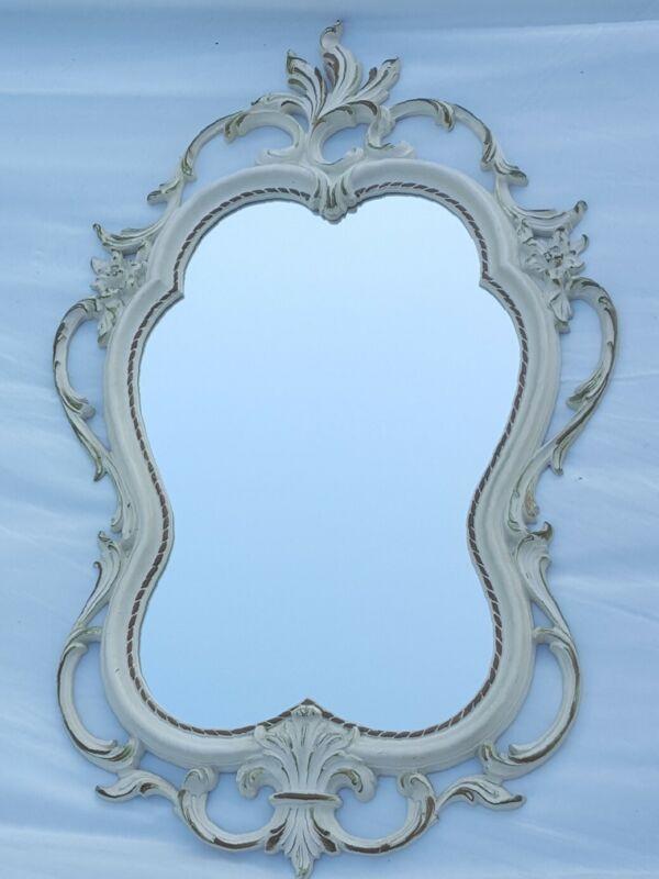 "Vintage Syroco 4411 Antiqued White & Gold Ornate Wall Mirror 32"" L x 19.5"" W USA"