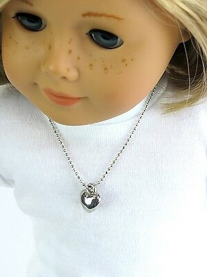 """Silver Heart Necklace made for 18"""" American Girl Doll Clothes Accessory Jewelry"""