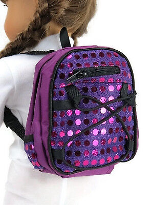 "Purple Backpack with Sequins made for 18"" American Girl Doll Clothes Accessories on Rummage"