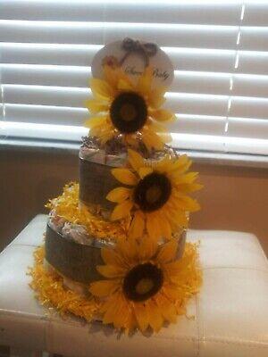 Sunflower Diaper Cake New Baby Gift Shower Decoration Diaper Cake Shower