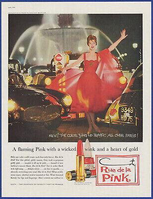 Vintage 1959 COTY Rue De La Pink Lipstick Nail Polish Cosmetics 50's Print Ad