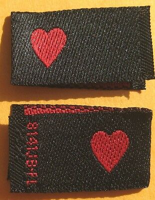 50 PCS WOVEN CLOTHING LABELS - BLACK WITH RED LOVE HEART