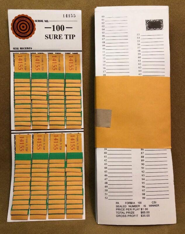 1 Dozen 100 SURE TIP BOARDS, Raffle Tickets, Jar Tickets, All Tips, Football