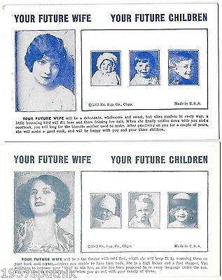 2 Your Future Wife, Children 1935 Esco Humor Exhibit Supply Co gag Arcade Card f