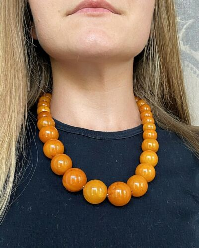 Big Old Antique Natural Amber 95g. Necklace Round Beads Butterscotch Pressed