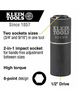 Klein Tool Lineman 2-in-1 Impact Socket 6-point 34 And 916-inch