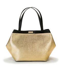 d1960ad0e3 VERSACE parfums black gold tote shopper carry on bag handbag travel purse  NEW