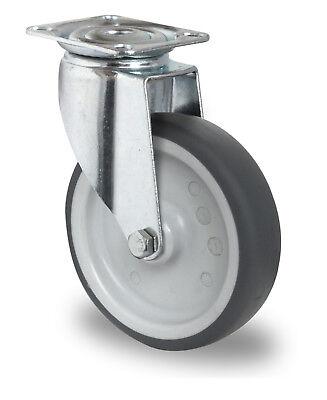 Apparaterolle Gummi grau spurlos 100 mm Anschraubplatte Rolle Transportrolle