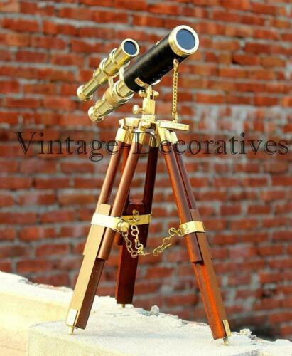 """Brass Vintage Double Barrel Telescope 10"""" Handmade Leather With Wooden Tripod"""
