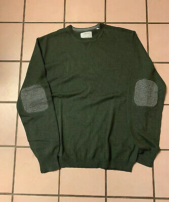 Link Soul Men's Cotton-Cashmere Elbow Patch Sweater Green Large NWT