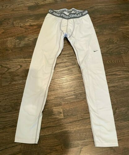 NIKE PRO COMBAT HYPERWARM Boys Youth White Leggings XL