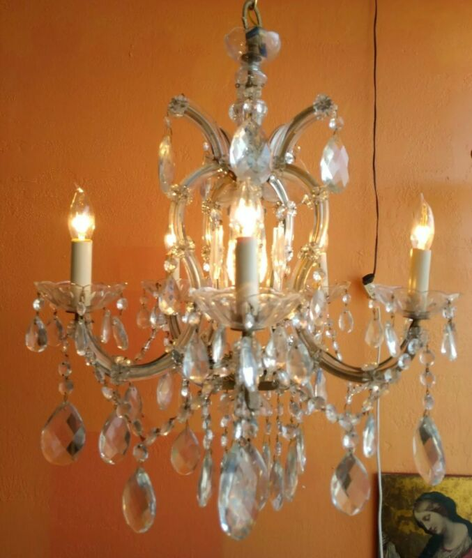 ANTIQUE ITALIAN 5 ARMS ,6 LIGHT CRYSTAL CHANDELIER MARIE THERESA VINTAGE LAMP
