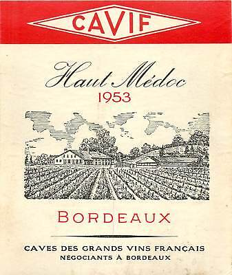 Label Wine Liquor Cavif Flaut Medoc 1953 Bordeaux Caves Des Grands Vins Francais France Bordeaux White Wine