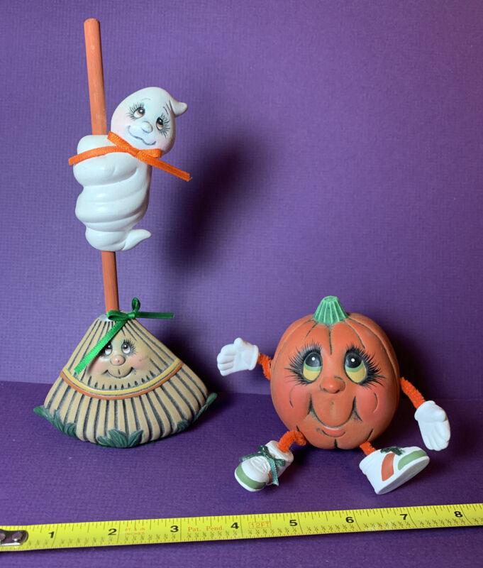 Vintage 1980s Anthropomorphic Pumpkin Broom Ceramic Shelf Sitter Halloween Decor