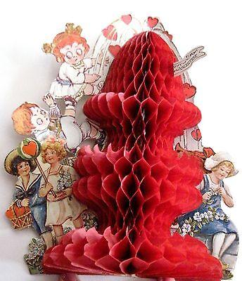 Valentin Kinder (Vintage Viktorianisch Rot Waben Valentin mit / Kinder Klettern bis Spitze &)