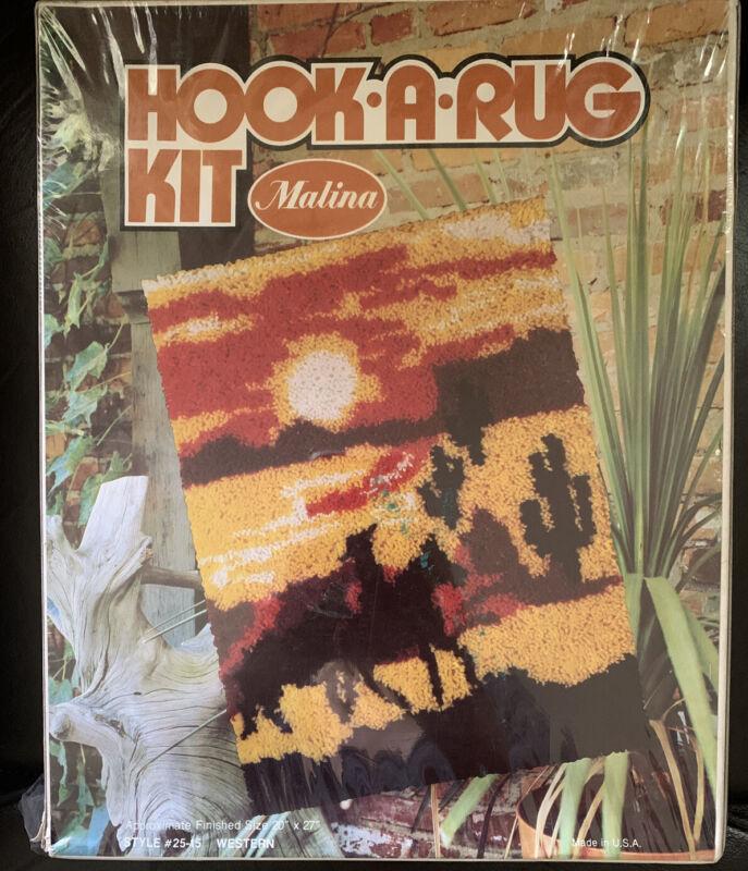 Malina Hook A Rug Kit 20 x 27 WESTERN horse desert sunset vtg sealed retro 1970s