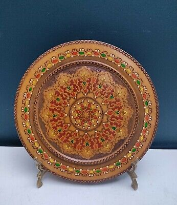VINTAGE DECORATIVE WOODEN PLATE CARVED COLOURED WALL PLAQUE