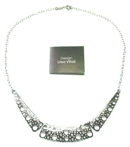 """Liisa Vitali Finland Beautiful Sterling Silver Necklace from """"Pitsi"""" Collection"""