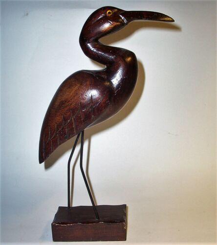 Old HERON BIRD Hand Carved Wood Art Sculpture Statue Figurine Vintage Antique VG