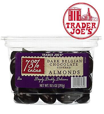 🔥 Trader Joe's 73% Cocao Dark Belgian CHOCOLATE Covered Almonds Grocery