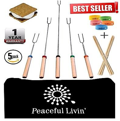 Retractable Marshmellow Roasting Sticks for Smores CampFire - HotDog BBQ Skewers - Sticks For Smores