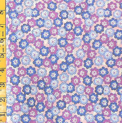Fabric   Jo Ann Quilt Blocks Thistleberry Purple Sm  Floral 100  Cotton 1 25 Yds