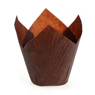 Tulip Pattern Large Muffin Paper Cupcake Cake Cases Wraps Chocolate Brown U3Q3