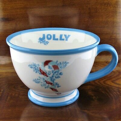 Jolly Candy Cane (2007 Starbucks Jolly Blue Candy Cane Holiday Pedestal Coffee Mug )