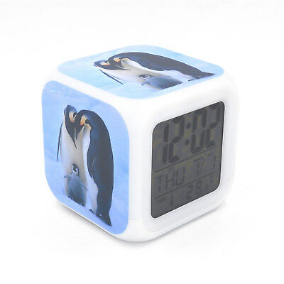 Penguin Family Led Alarm Clock Creative Desk Digital Alarm Clock for Adults Kids