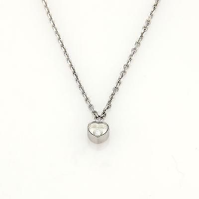 Chopard Happy Diamond 18k White Gold Mini Heart Pendant & Chain Necklace