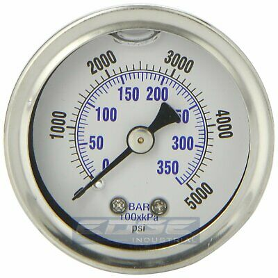 Liquid Filled Pressure Gauge 0-5000 Psi 1.5 Face 18 Npt Back Mount
