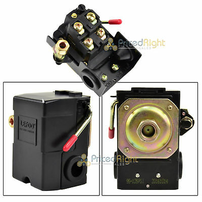 Single Port Air Compressor Pressure Switch Control Valve 95-125 PSI w/ Unloader