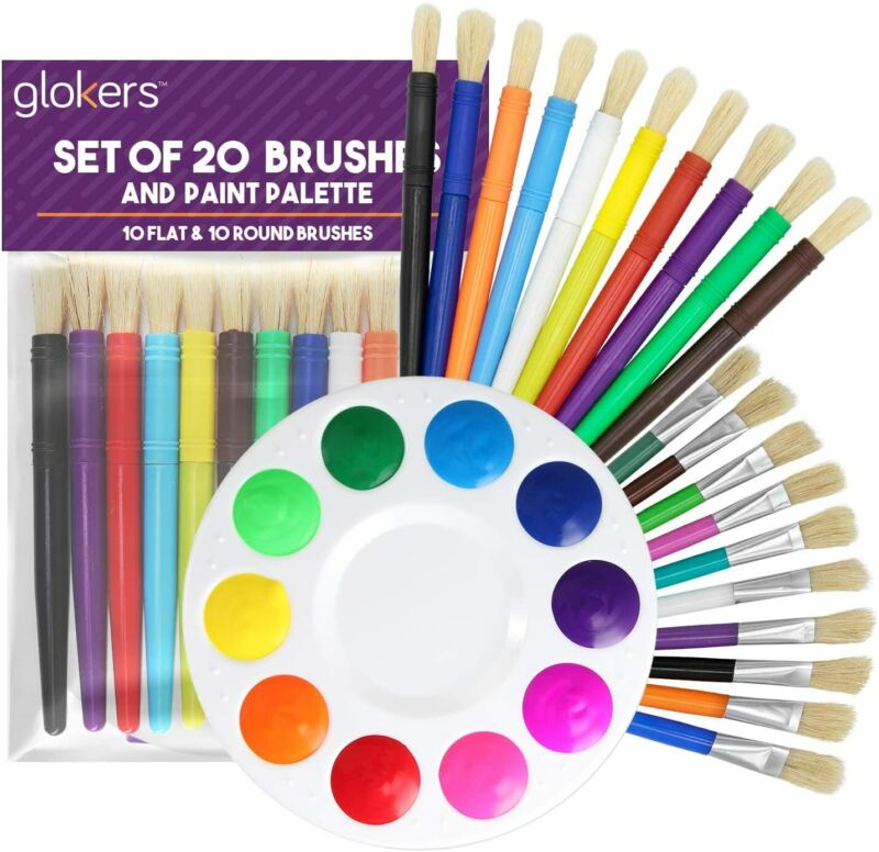 glokers 20 Hog Bristle Kids Paint Brushes with Paint Palette, 10 Flat, 10 Round