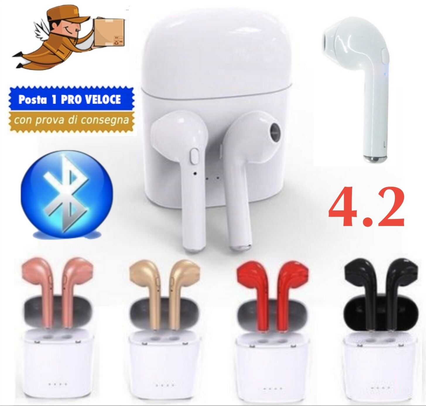 COPPIA AURICOLARI BLUETOOTH CUFFIE WIRELESS MICROFONO per SAMSUNG HUAWEI  IPHONE ... a7fd773fda1d