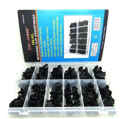 192pc Auto Shield Push Retainer Pin Rivet Trim Panel Clip Assortment Kit CAPRC19