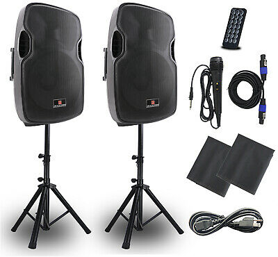 Powered PA Speakers 2-Way 15 Inch Pair,Portable DJ speakers system-USB FM AUX-IN