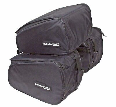 Supafactory Saddle Panniers & Seat / Tail Bags Set For Motorcycles & Motorbikes