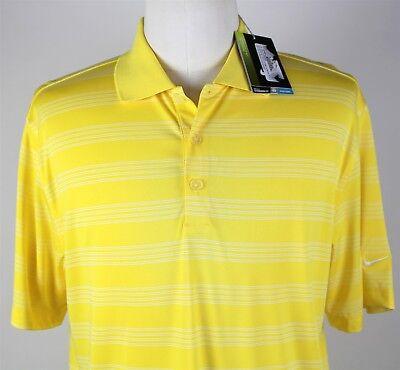NWT Nike Golf Tech Core Stripe Polo Shirt MENS LARGE Yellow Dri-Fit - Nike Tech Core