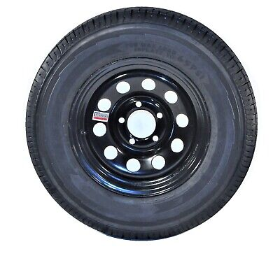 2-Pack Trailer Tire and Rim Bias Ply ST205/75D14 LRC 5-4.5 Black Modular Wheel