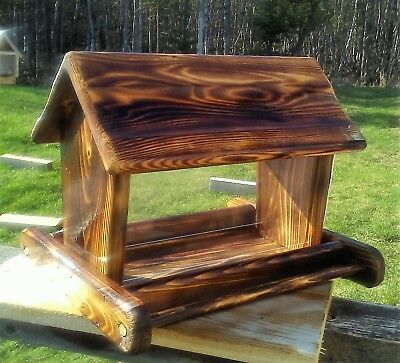 Beautiful large handmade cedar wood square post mount bird feeder,TBNUP #1B