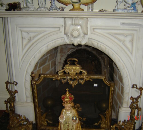 Fireplace French Ormolu Fender Screen and Cupid Andirons 19th Century