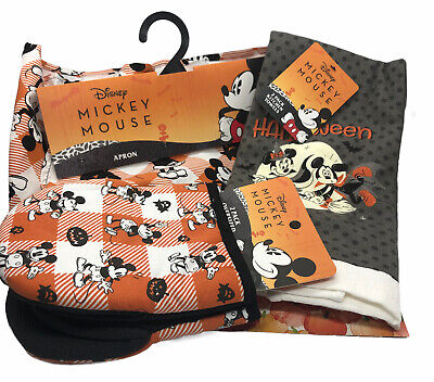 Disney Mickey Mouse Halloween Trick or Treat Apron, Mitts, Set of Kitchen Towels